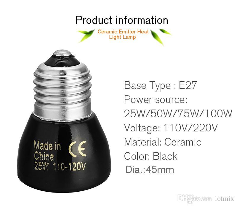 Sıcak Satış Siyah E27 25 W 50 W 75 W 100 W Mini Kızılötesi seramik Verici Sürüngen Pet Brooder Için Isı Işık Lambası Ampul 110 V / 220 V