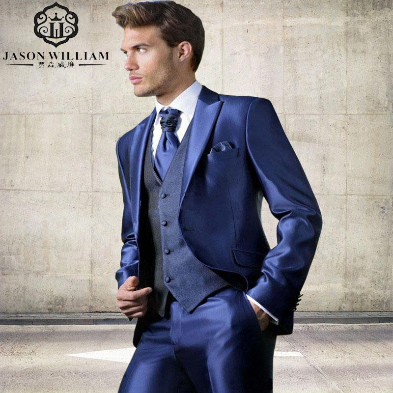 2017 Wholesale Ln059 Custom Made Bright Blue Mens Suit 2017 New ...