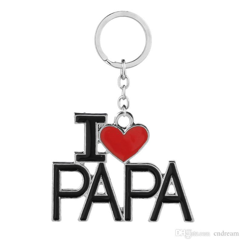 I Love DAD MOM MAMA PAPA Keychain Letter Red Heart Love Key Chains Rings Fashion Jewelry for mother father Gift Drop Shipping