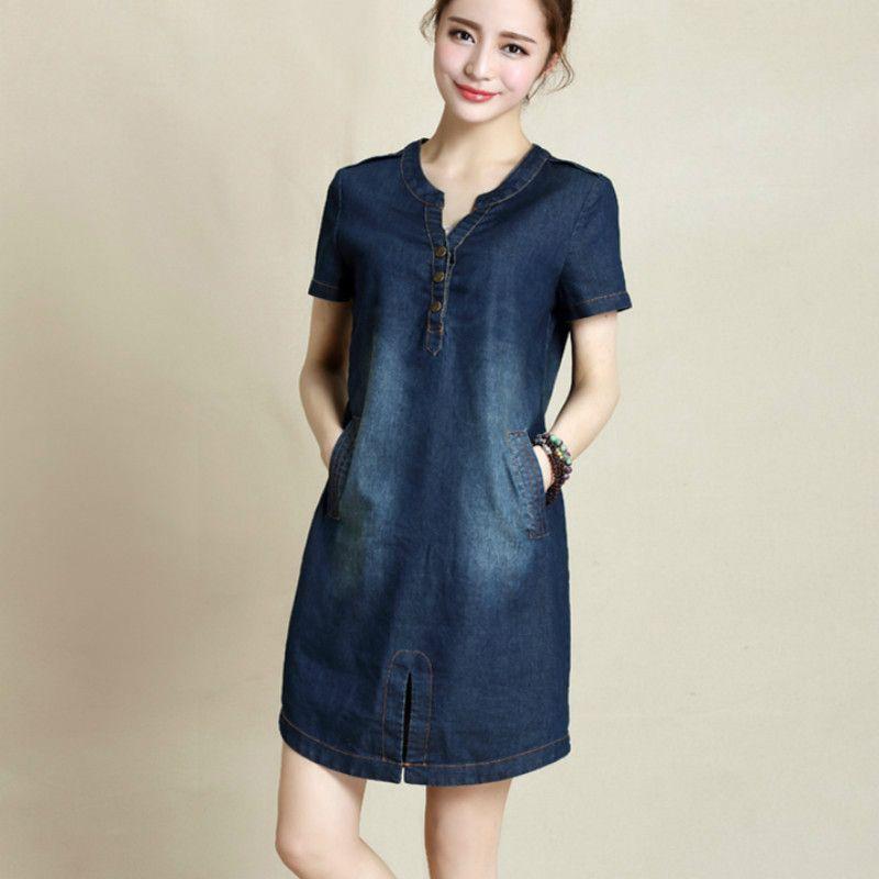 e5dd0724185 2019 Wholesale 2016 New Summer Fashion Plus Size Denim Dress With Short  Sleeves Korean V Neck Loose Solid Color Navy Blue Women Dresses 176C 45  From Regine