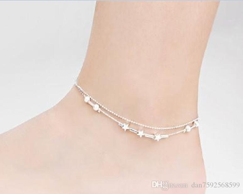 925 Sterling Silver Anklets with Lucky Bell Adjustable Length Women Girl Anklet Sexy Foot Chain Bracelet X23l7bbdt8