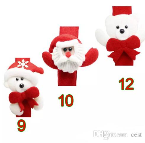 MEW Christmas Gift Luminous Papa Bracelet Xmas Santa Claus Snowman Toys SlapPat Circle Bracelet Wristhand Christmas Party Decoration