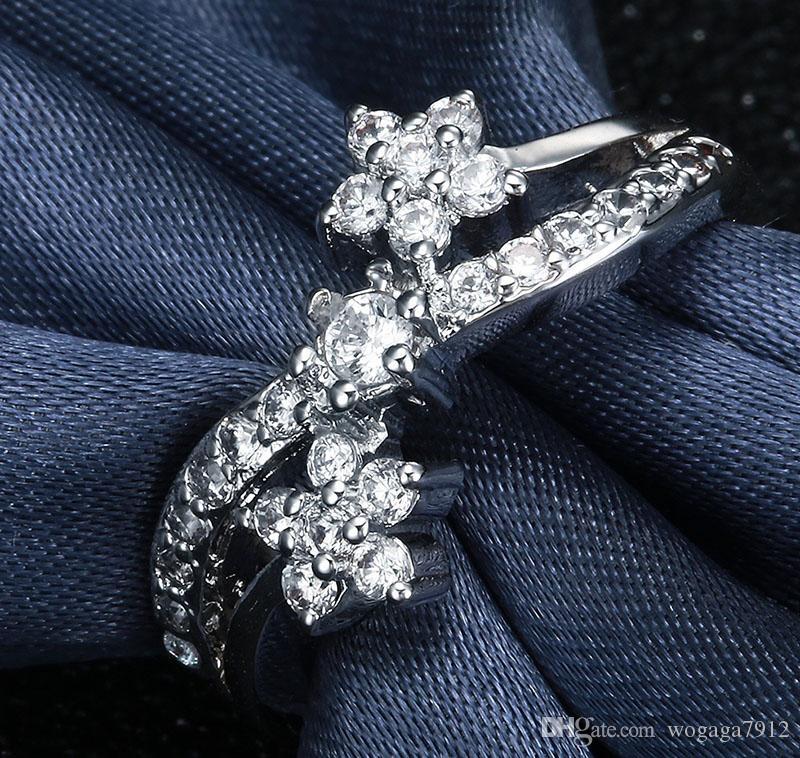 мода ювелирные изделия стерлингового серебра 925 белый топаз крест драгоценный камень обручальное кольцо размер 6 7.8.9 10