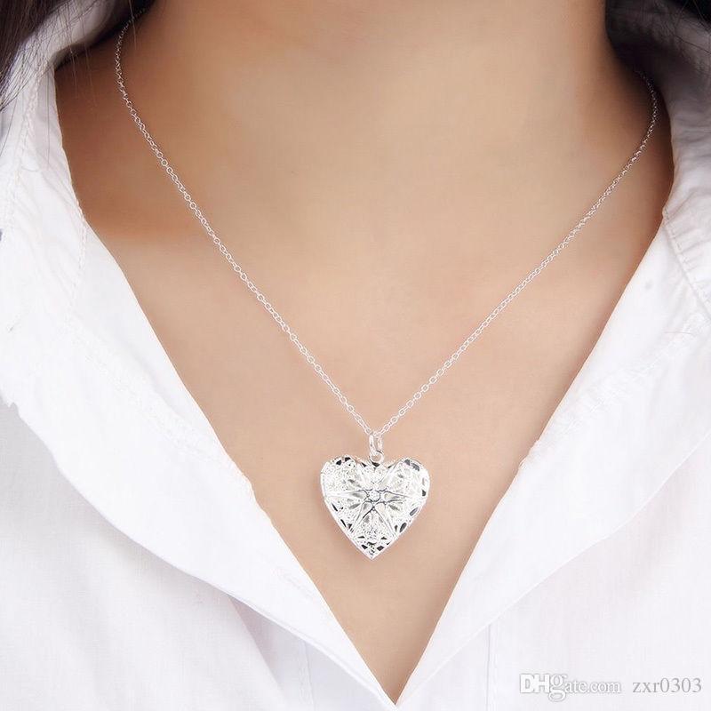 посеребренные ожерелье для женщин ожерелье ювелирные изделия серебряный мода симпатичные сердце ожерелье кулон ювелирные изделия заявление девушка подарок