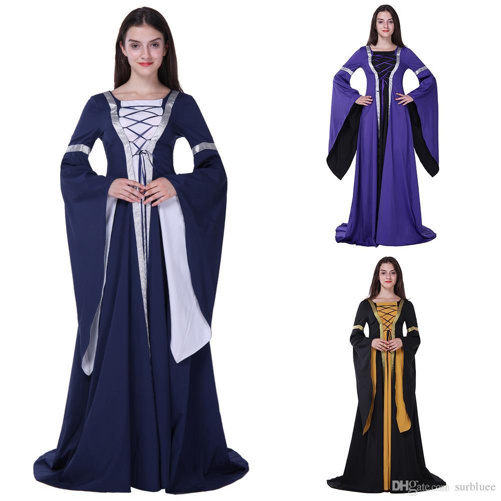 2017 Retro Women Victorian Halloween Medieval Dress Costumes ...