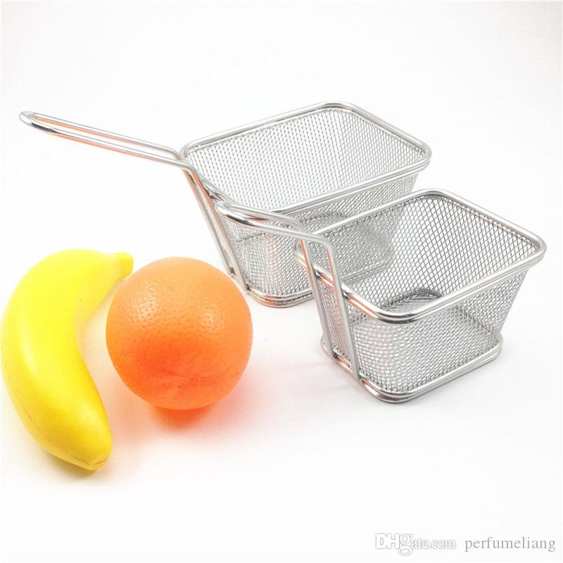 Gıda Sınıfı Mini Cips Fritöz Sepeti Paslanmaz Çelik Fritöz Hizmet Gıda Sunum Sepeti Mutfak Patates Kızartması Sepetleri ZA1896