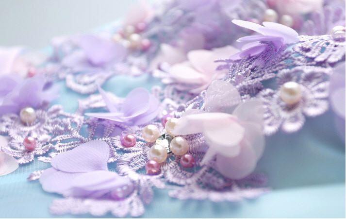 Light Blue Ball Gown Wedding Dresses 3D-Floral Appliques Wave Details V-Neck Princess Sweetheart Gowns Beautiful Colorful Wedding Dresses