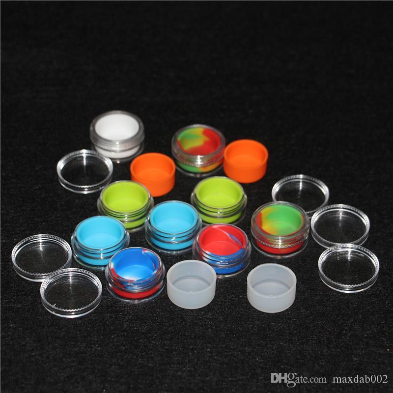 acrílico recipiente de silicone 5 ml concentrado de cera compõem silicone recipientes caixa de grau alimentício ABS caixa de maquiagem dab dabber frascos de armazenamento ferramenta