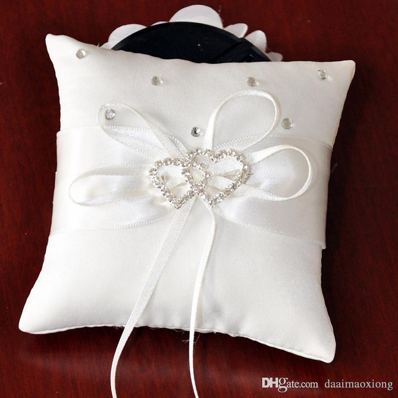White bridal wedding ceremony ring bearer pillow cushion crystal white bridal wedding ceremony ring bearer pillow cushion crystal rhinestone double heart pillow wedding decoration zh382 birthday party accessories for kids junglespirit Gallery