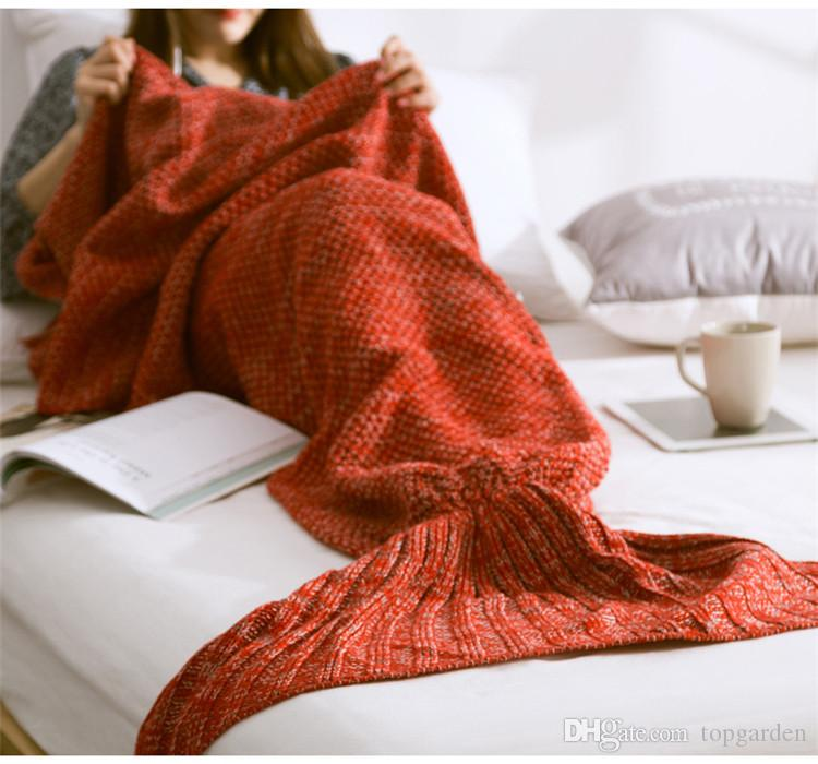 Newest Colorful Mermaid Tail Blankets Keeps Warm Tail Fish Blankets Women  Sleeping Bag Bedding Warm Soft Handmade Knitted Blanket Small Electric  Blanket Lap ... df0286e099