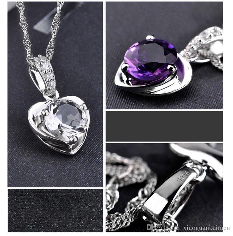 925 Sterlingsilber-hängende Halsketten-Art- und Weise bezaubert Halsketten Herz geformte Kristallanhänger Qualitätsschmucksachen Freies Verschiffen