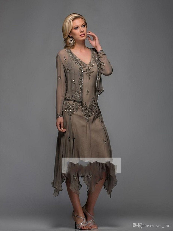2020 Vintage col en V manches longues Mère de robes de mariée en dentelle de perles en mousseline de soie thé Appliques Longueur mariée mariage invités Robes avec la veste