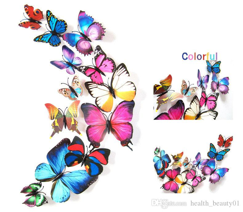 D Wall Sticker Stickers Butterflies Pegatinas De Pared Art - Butterfly wall decals 3dpvc d diy butterfly wall stickers home decor poster for kitchen