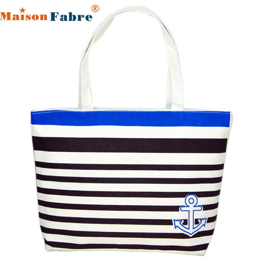 Wholesale- SIF Canvas Blue Anchor Pattern Shopping Shoulder Bags Women  Handbag Beach bag borse da donna cymka JUN 07