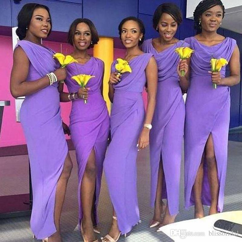 Довольно фиолетовый Нигерийские Свадебные Стильные платья подружки невесты Сплит Front Mermaid Dubai Горничная честь Платья лодыжки Длина свадьбы Гостевое платье