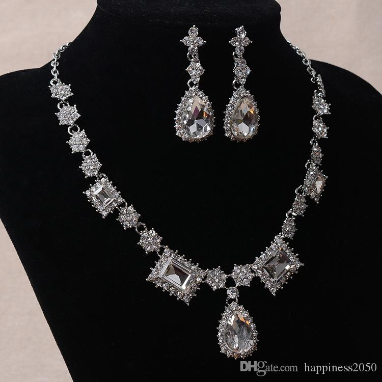 Beauty Silver Flower Bridal Necklace Earring Suits Jewelry Suits Wedding Bridal Jewelry P419012