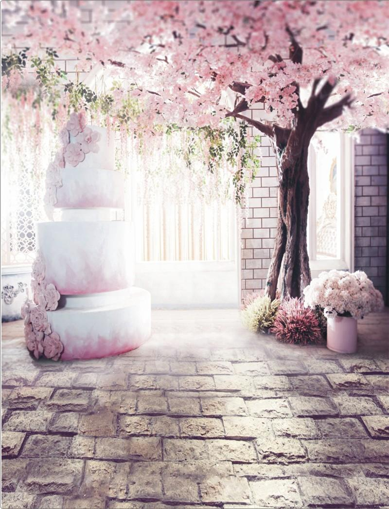 2018 Romantic Pink Flower Tree Indoor Wedding Photography Backdrops ...
