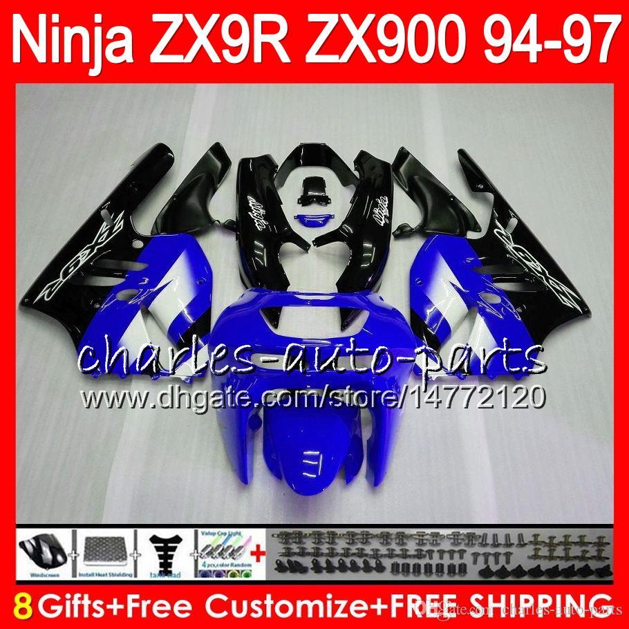 8Gifts For KAWASAKI NINJA ZX900 ZX9R 94 95 96 97 900CC 49HM20 blue black ZX-9R ZX900C ZX 9 R ZX 9R 1994 1995 1996 1997 Fairing kit