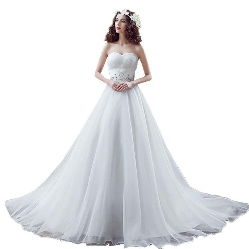 Organza Wedding Dresses A Line Sweetheart Crystals Cheap Bridal ...