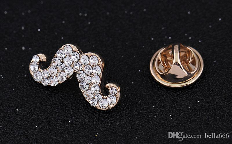 Wholesale and Retail New Fashion Classic Mini Brooches Gold Plated Crystal Rhinestone Beard Brooch Pins women Girl Party Jewelry Accessory