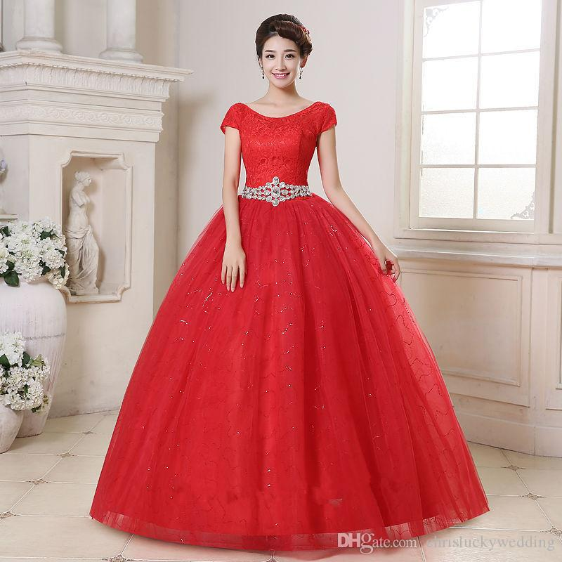 Princess Lace Bridal Ball Gowns Modest Country Wedding: Modest Red Cheap Vintage 2016 Lace Ball Gown Wedding
