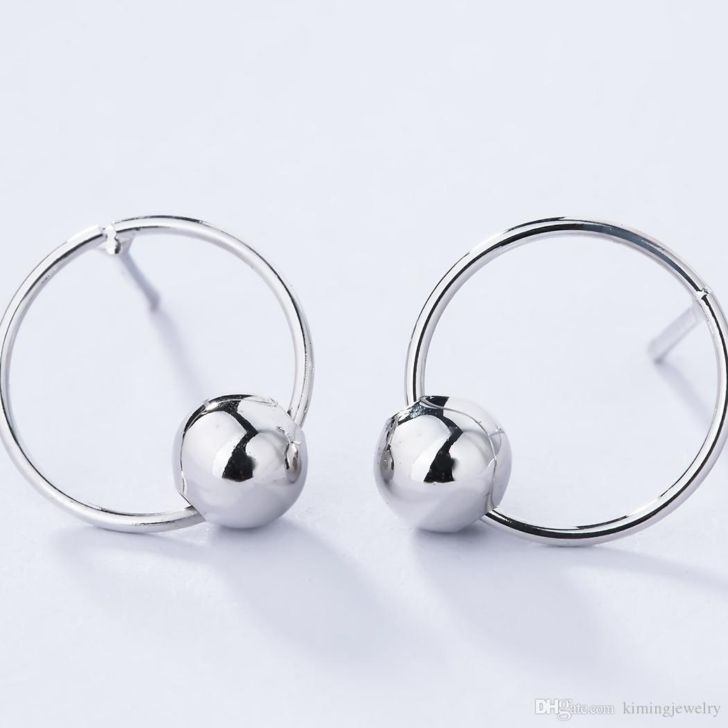 925 Sterling Silver Jewelry Round Ball Earrings for Women Statement Circle Earrings Pendientes Brincos Women Bijoux