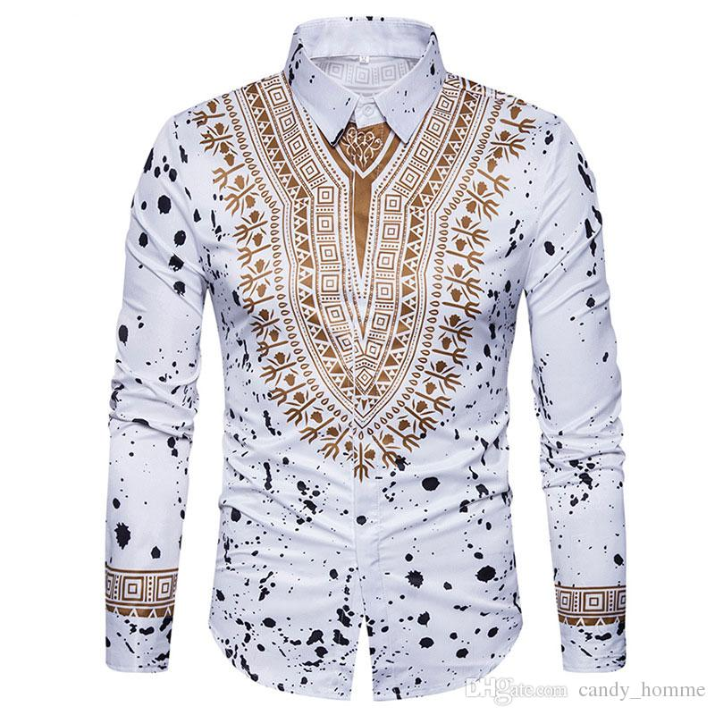 6027e419da5 2019 Ethnic Style Men S Shirt Fashion Male 3D Floral Retro Long Sleeve  Shirts Slim Fit Casual Dress Shirts From Candy homme