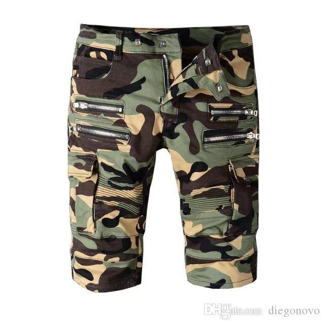 Acheter Hip Hop Jeans Fermeture À Glissière Camouflage Estivale Pour ... 7847f59589bb
