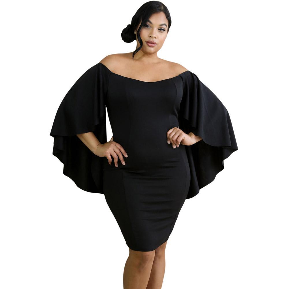 Vestidos Plus Size Winter Black Off Shoulder Fluttering Bell ...