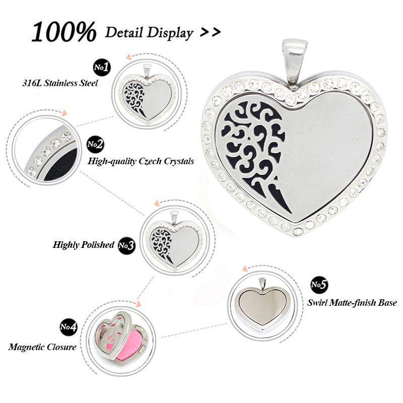 Новое прибытие эфирное масло диффузор сердце духи медальон кулон ожерелье из нержавеющей стали плавающей медальон бесплатно с цепи