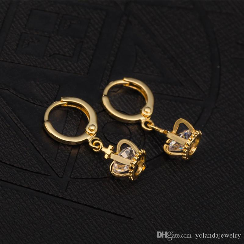 New Arrival 18K Gold Plated Round Crystal Earrings Stud Clear Inlay Cubic Zircon Luxury Crown Earring for Women foe Bride