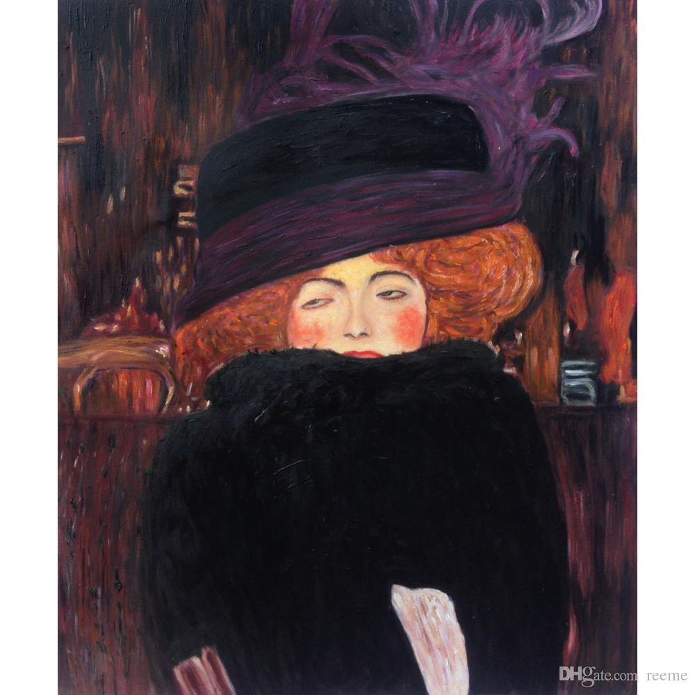 Gustav Klimt Artwork Reproduction Lady With Hat And Feather Boa Oil  Painting Canvas High Quality Handmade Wall Decor UK 2019 From Reeme 70bac560ed8