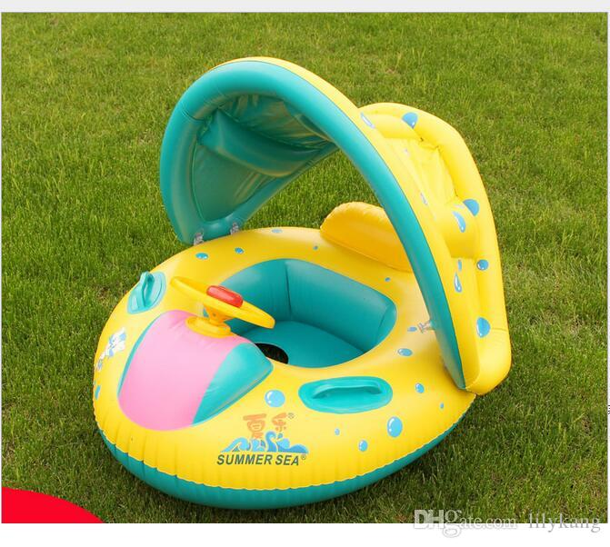 Baby Swim Ring Infant kids Seat Ring for water fun Swimming floats Safety children swimming boat float swim chair baby seat with sunshade