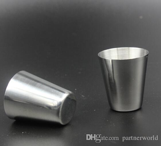 Atacado-30ml portátil de aço inoxidável tiro copos Barware cerveja vinho bebendo copo ao ar livre