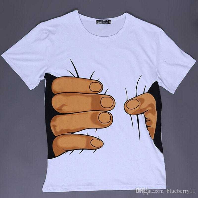 Fashion Men's Clothing O-neck Short Sleeve Men Shirts 3D Big Hand T Shirt men Tshirts Tops Tees For Man