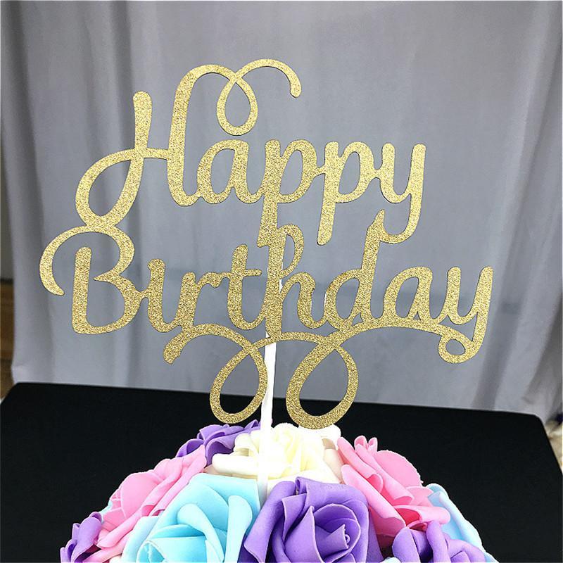 Best Wholesale Goldensliver Bling Bling Happy Birthday Cake Topper