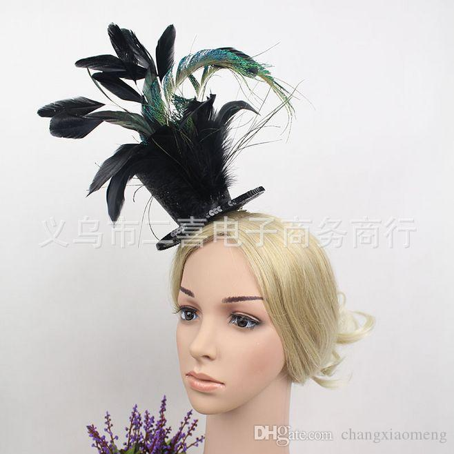 Bridal Veil Accessories Feathers Hat Clip Accessories For Christmas Party Wedding Dresses Hair Wear Elegant