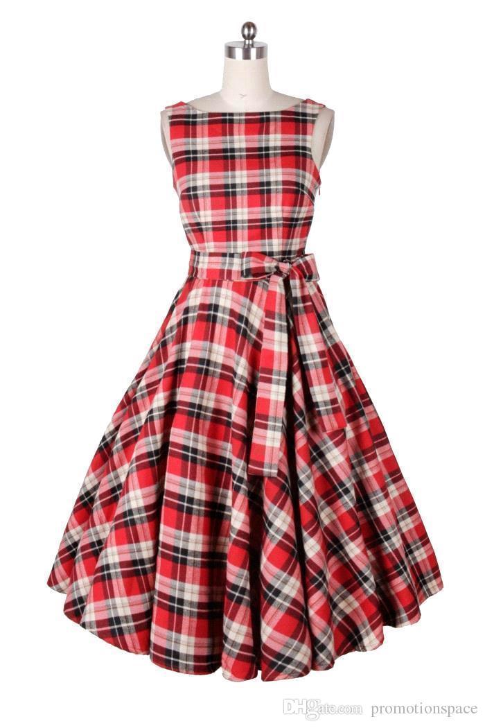 En Stock 2016 Caliente Audrey Hepburn 1950 Rockabilly Vestidos Casuales Vestido de Noche Estilo A Cuadros de La Rodilla Larga Vestido de Las Mujeres En Stock