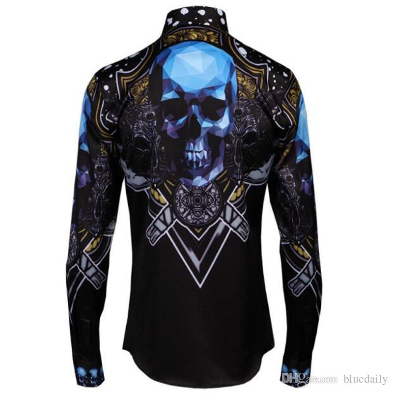 Мода мужчины синий череп печати рубашка высокое качество повседневная с длинным рукавом рубашки мужчины плюс размер бесплатная доставка
