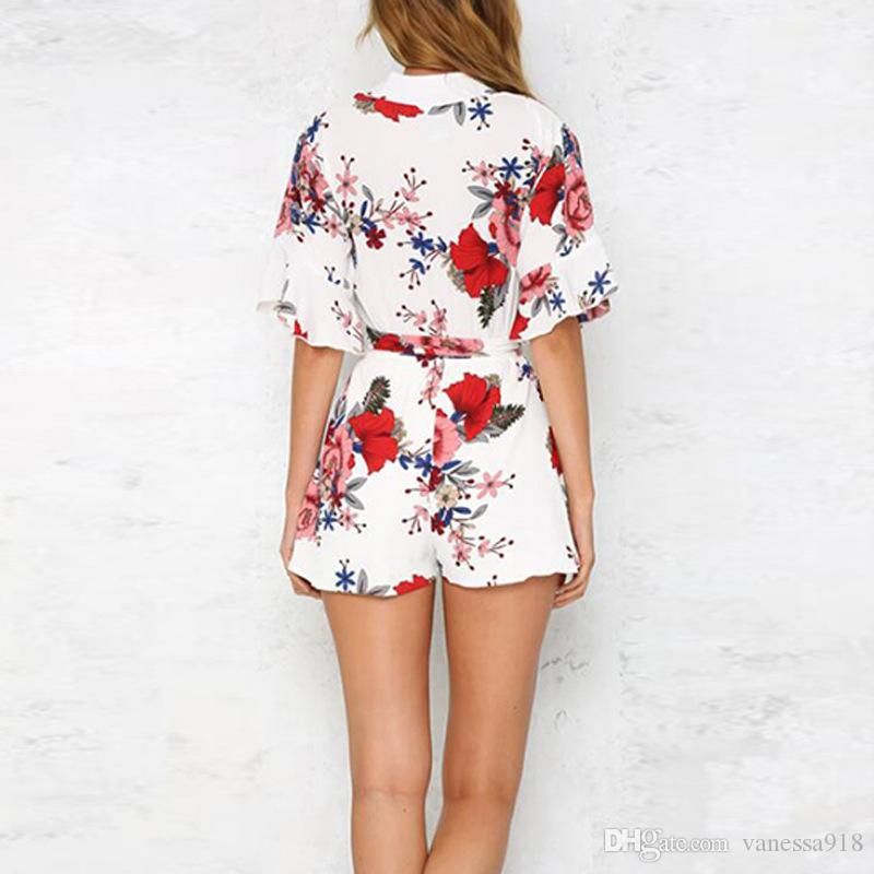 V neck jumpsuit romper women Elastic waist half sleeve beach overalls Sexy streetwear playsuits flower print plus size wholesale ONY121