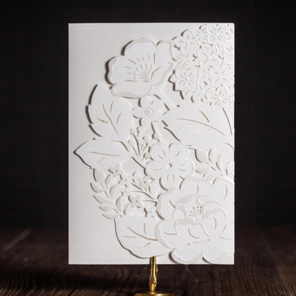 Wishmade New Arrival White Luxury Laser Cut Wedding Invitations ...