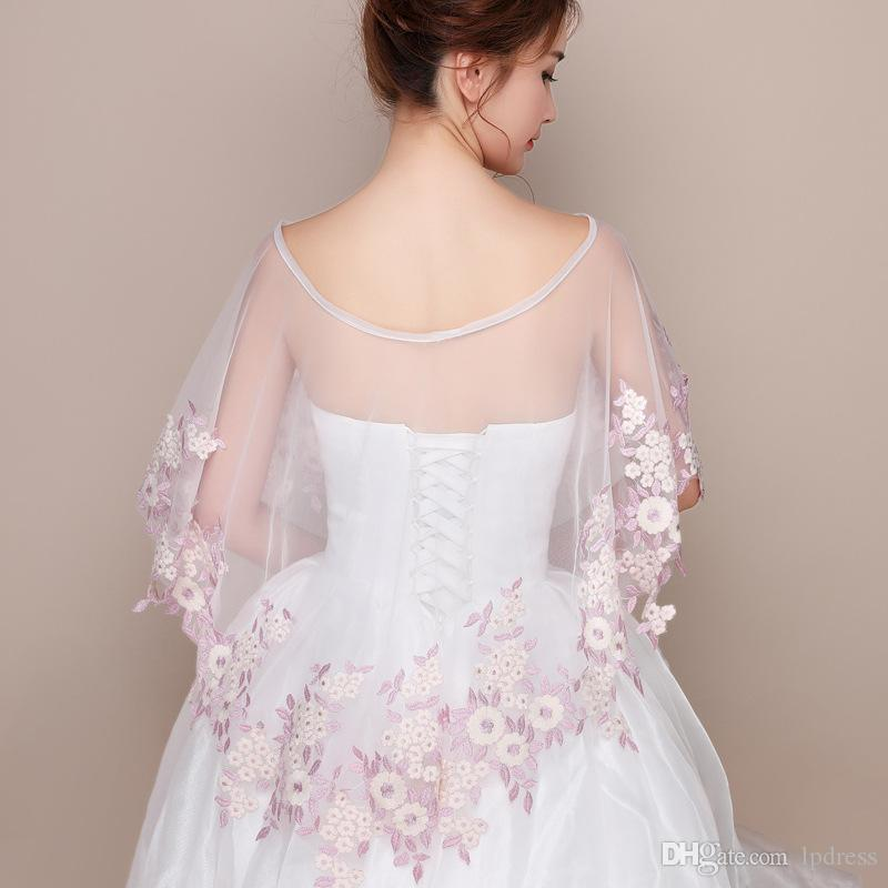 Fairy Bridal Boleros Pearl Pink Flowers Soft Ivory Tulle Wedding Accessories Bridal Wraps Cheap