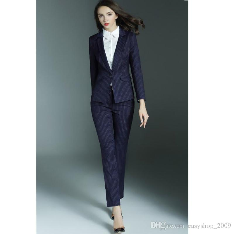 6217329faf Ms new ol business attire women s suit jacket+pants stripe suit formal  occasion high quality custom wedding woman suit