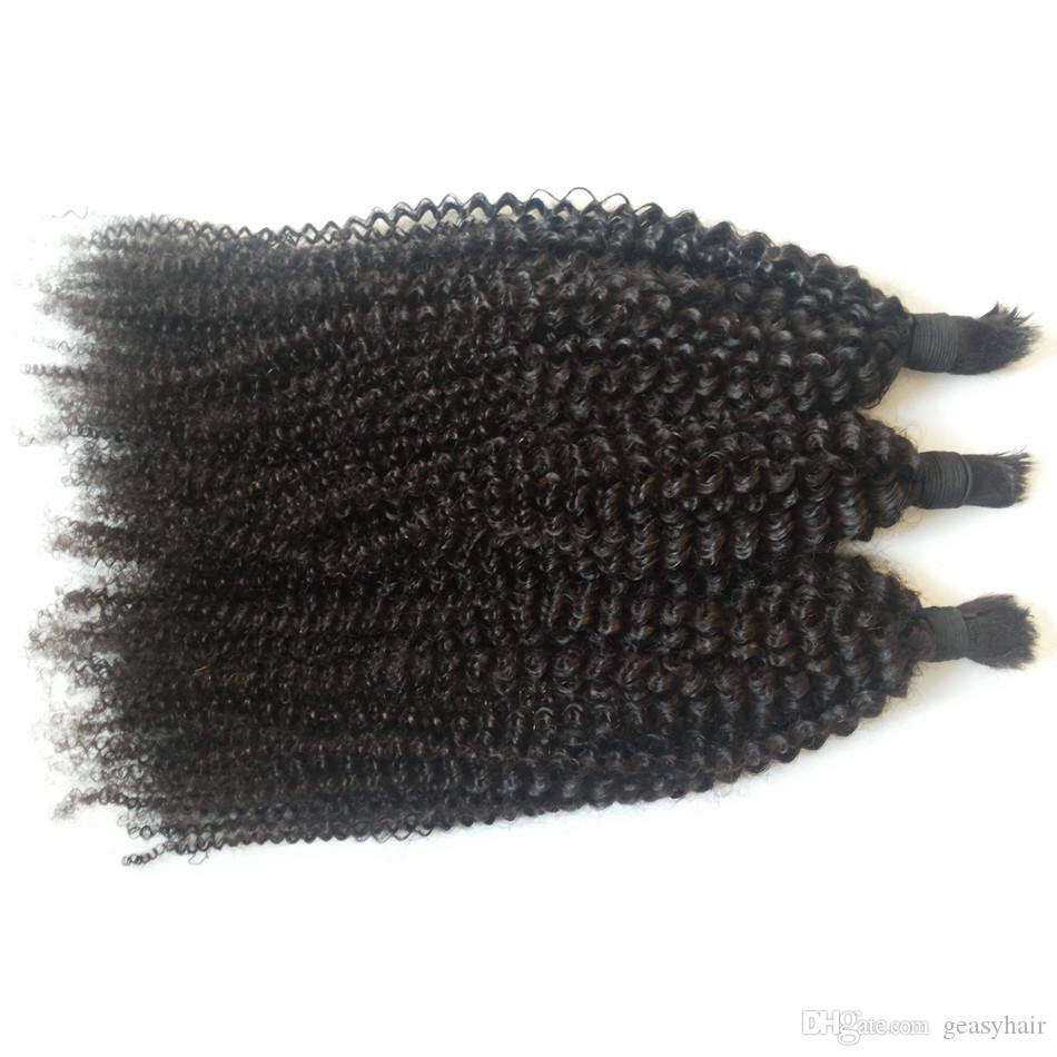 Brazilian Human Bulk Hair Unprocessed Human Hair Natural Black Kinky Curly Braiding Hair For Black Women G-EASY