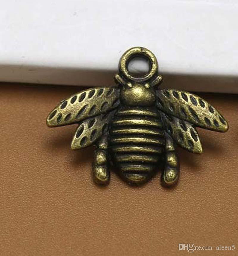 Chaud! Livraison gratuite Antique argent / Bronze En Alliage de Zinc Belle Abeille Charme Pendentif 16x21mm