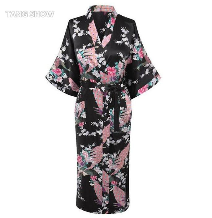 d0cc0f0bec 2019 Wholesale Plus Size XXXL Summer Sexy Black Nightgown Women S Robe Satin  Rayon Print Long Sleepwear Kimono Bath Gown Flower Pajamas NR191 From  Primali