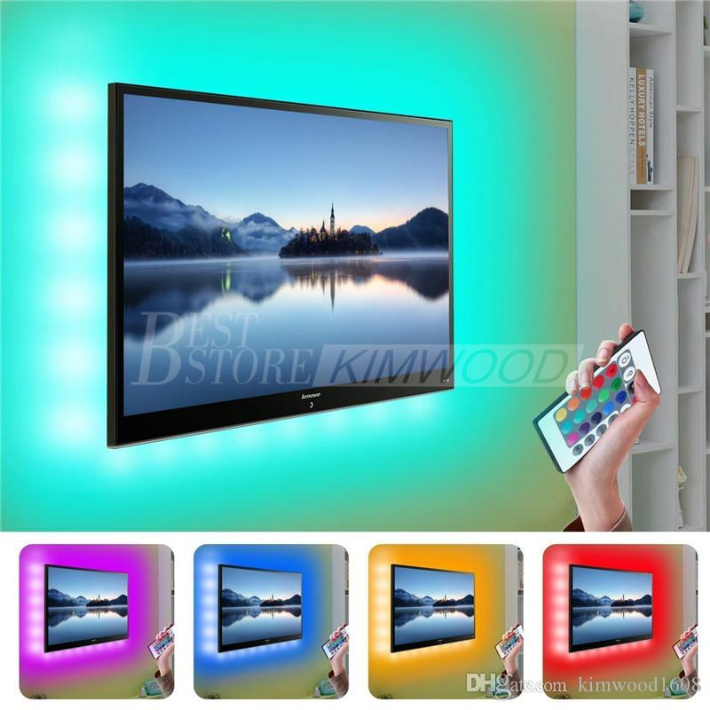 Four Strips 5050 USB LED Strips Backlight RGB Lights with Remote Control for HDTV Flat Screen TV Accessories and Desktop PC Multi Color
