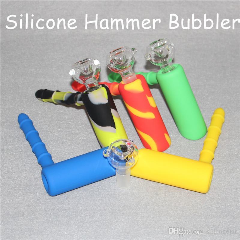 Bubbler di fumo di silicone di Bong di acqua di martello 18,8mm Bubbler di favo con trapano a percussione di olio Doppio riciclatore di olio di acquazzone con ciotola di vetro DHL