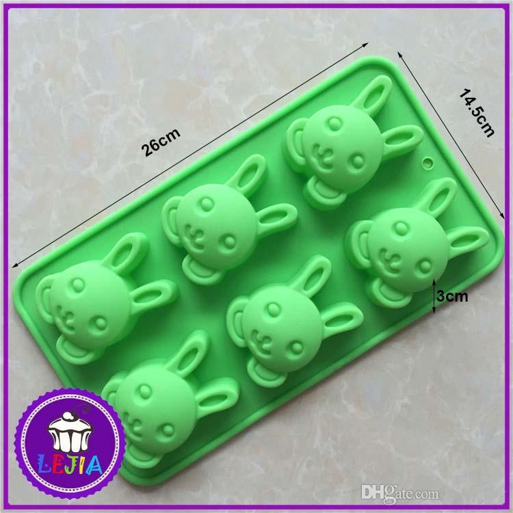 cute rabbit shape 6 holes Silicone Mold Cake Decoration tools Food Grade cake soap chocolate pudding Moulds baking bakeware