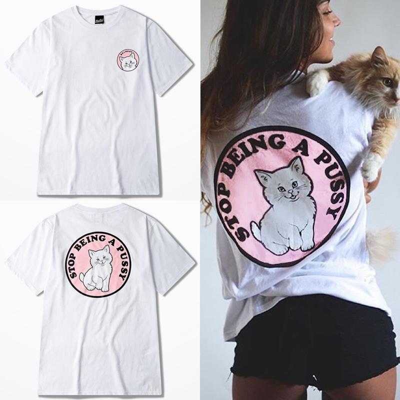 677e1e3d264 Wholesale Summer Women Harajuku Style Clothing Pink Cat Printed Short Sleeve  Cotton T Shirts Street Fashion Ropa Mujer Funny Tee Shirts Mens T Shirt  From ...